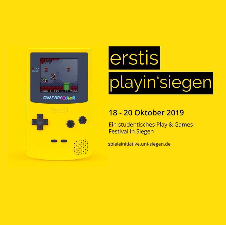 erstis playin' siegen Plakat mit gelbem Gameboy-Motiv